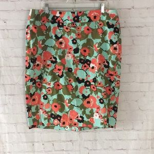 Lane Bryant mid floral pencil skirt green coral 16